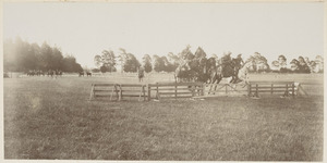 Steeplechase run by soldiers on horseback