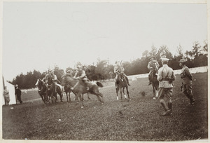 Mounted soldiers prepare for a race