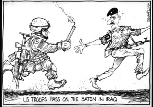 US Troops pass on the baton in Iraq. 2 July 2009