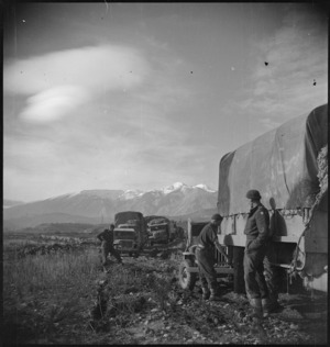 NZ transport on the edge of the Sangro River in Italy, World War II - Photograph taken by George Kaye