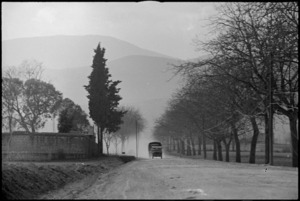 New Zealand Division transport in the Volturno Valley, Italy, World War II - Photograph taken by George Kaye