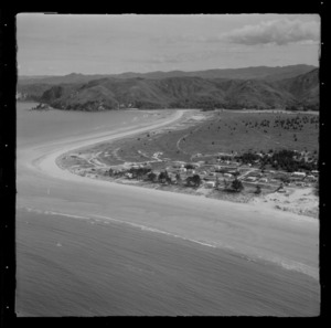Whangamata Beach with houses and baches and Ocean Road, Whangamata, Thames-Coromandel District