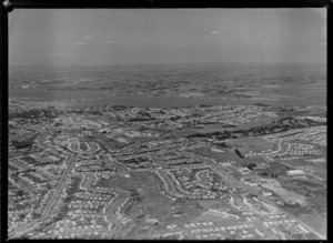 Mount Roskill with Southern Motorway, Keith Hay Park and the Manukau Harbour beyond, Auckland Region