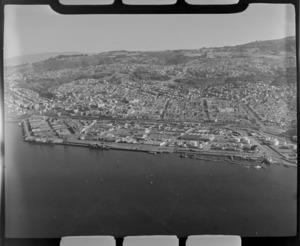 Dunedin waterfront with Dunedin City beyond, Otago Harbour