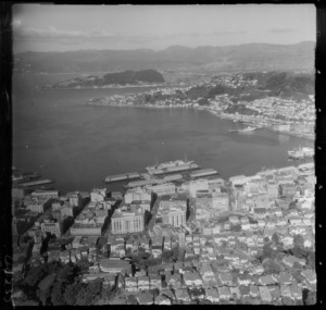 Wellington City and waterfront wharves with Oriental Bay, Mount Victoria and Wellington Harbour beyond