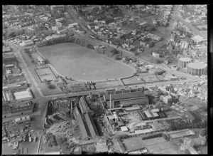 Auckland Gas Company Works on Beaumont Street foreground with Victoria Park sports ground flanked by Victoria Street West and Fanshawe Street, Auckland City