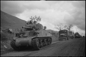 Tanks and transport moving on NZ Sector of the Monte Cassino Front in Italy, World War II - Photograph taken by George Kaye