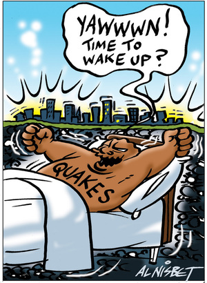 """Nisbet, Alastair, 1958- :Quakes - """"Yawwwn! Time to wake up?"""" 16 May 2012"""