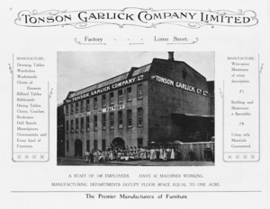 Tonson Garlick Co :Factory, Lorne Street. A staff of 148 employees. Have 42 machines working. Manufacturing departments occupy floor space equal to one acre. [ca 1910].