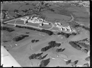 View of Middlemore Hospital with Auckland Golf Club greens, Paptoetoe, South Auckland