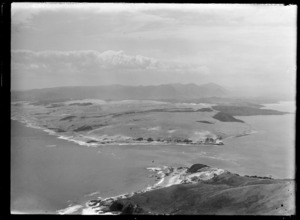 View of the Hokianga Harbour entrance with sandbar and tidal rip and Omapere Beach in foreground, looking north, Northland Region
