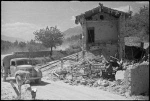 Railway crossing outside Italian village of Balsorano destroyed by retreating German troops, World War II - Photograph taken by George Kaye