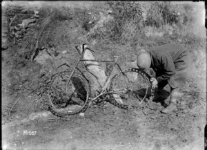 German bicycle with tyres made of springs due to the rubber shortage, World War I