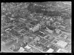 Auckland City, including St Matthews Anglican church and the Domain in the background