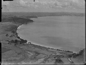 View of D Robb's residence at Stanmore Bay looking north to Orewa, North Auckland Region