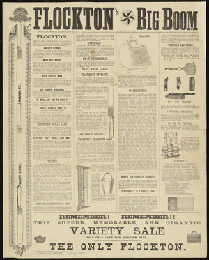 Flockton's Variety Stores :Flockton's big boom. Remember! Remember!! This superb, memorable, and gigantic variety sale will only last for eighteen days. The only Flockton. Supplement to the Wairarapa Daily [2 September 1889].