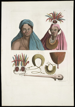[Hodges, William], 1744-1797 :Woman and chief of Santa Christina; and, Ornaments and weapons at the Marquesas. Plate] N. 90. [1810-1830].