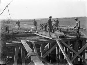 World War I New Zealand Engineers building a bridge