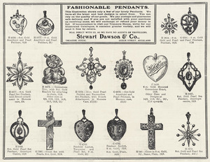 Stewart Dawson & Company :Fashionable pendants. This illustration shows only a few of our lovely pendants. The Weekly Graphic and New Zealand Mail for February 24, 1909, page 35, lower half.