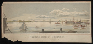 Watkins, Kennett, 1847-1933 :Auckland Harbour, midsummer. Litho. at the N.Z. Graphic and Star Printing Works, from a painting by K Watkins. 1894.