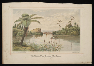 Ryan, Thomas, 1864-1927 :The Waikato River, Auckland, New Zealand. Litho. at the N.Z. Graphic and Star Printing Works, from a painting by T Ryan [1893]