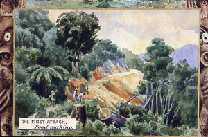 Sturtevant, George Neville, 1858-1937 :[Testimonial presented to] Stephenson Percy Smith. [Detail]. The first attack, road-making. 1901.