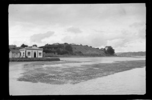 Kawhia Harbour, Otorohanga District, Waikato Region, including Kawhia County Council building on waterfront