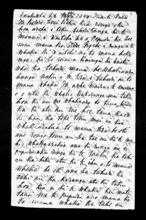 Letter to Te Pura (Buller)