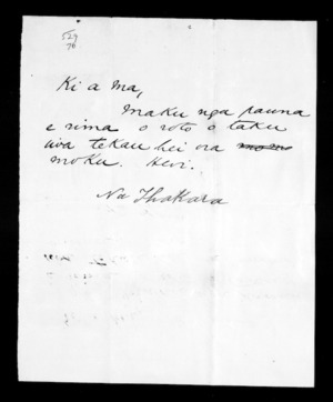 Undated letter from Ihakara to McLean