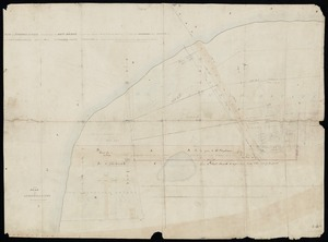 Cobham, Samuel, 1799-1881 :Plan of freehold estate situated near the Hutt Bridge containing about 2 acres 3 roods 38 perches, divided into paddocks well fenced in, with 4 roomed house, well of water, slaughter house, stockyard &c. &c. [ms map]. Also plan of leasehold estate, Samuel Cobham, surveyor, [1856?]
