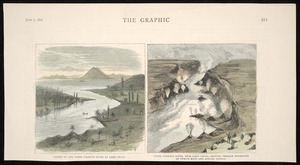 Artist unknown :Source of the upper Waikato River at Lake Taupo / TG [sc.]; Upper Waikato River, near Lake Taupo, showing terrace formation of pumice rock and boiling springs. The Graphic, June 7, 1884, [page] 553.