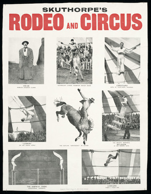 Skuthorpe's rodeo and circus. Printed by Wright & Jaques Ltd, Albert Street, Auckland. [1948?]
