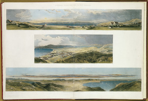 [Brees, Samuel Charles] 1810-1865 :Panorama of Wellington, Port Nicholson, taken upon Thorndon Flat. Te Aro Flat, Wellington, from near Captain Sharpe's residence; Panorama taken from the top of Mount Victoria, Port Nicholson. Pictorial illustrations of New Zealand. [1847]. Drawn by S. C. Brees ... engraved by Henry Melville. Plate 22.