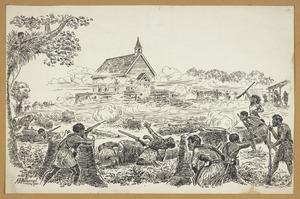 Messenger, Arthur Herbert, 1877-1962 :[The attack on the Pukekohe East Church stockade, 14 September, 1863] 1921