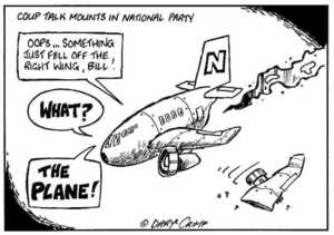 "Coup talk mounts in National Party. ""Oops... Something just fell off the right wing, Bill!"" ""What?"" ""The plane."" ca 6 September 2002."