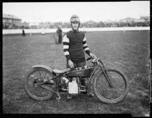 W M Smith, speedway rider, on Douglas motorcycle, at Kilbirnie stadium, Wellington