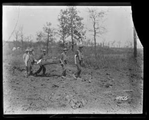 Stretcher bearers near Ploegsteert Wood
