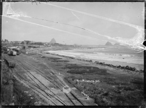 New Plymouth, view of the waterfront, with the railway station and yards