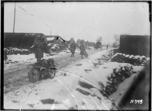 Snowy conditions at New Zealand headquarters, Chateau Segard, Belgium, during World War I