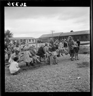 Children in play area of a Polish refugee camp in Pahiatua