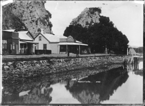 View of Whakatane showing a shop owned by George Creeke