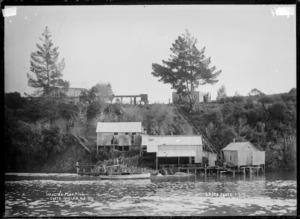 Wallis's flax mills, Okete, Raglan Harbour, 1910 - Photograph taken by Gilmour Brothers