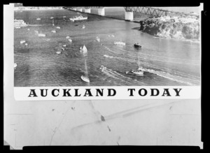 Auckland Today [magazine?] image and text composite of Waitemata Harbour with various boats on the water by Auckland Harbour Bridge