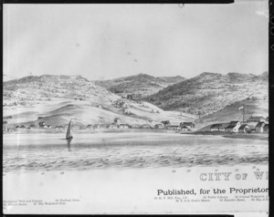 Nattrass, Luke, 1803?-1875 :City of Wellington, New Zealand. 1841. [W. Richardson lithographer from a sketch by L. Nattrass. 2nd edition]. Wellington, McKee & Gamble [ca 1890. Part two, central section, left-hand side]