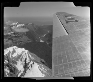 View from South Pacific Airlines of New Zealand (SPANZ) plane of South Westland District, West Coast Region