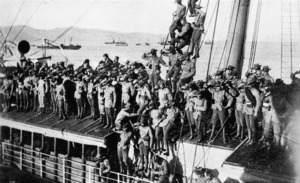 Soldiers departing for the the South African War on board the ship Waiwera