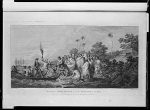 Hodges, William, 1744-1797 :The landing at Middleburgh, one of the Friendly Isles. Painted by W. Hodges. Engraved by J. K. Shirwin. Publ.d Feb 1st 1777, by W. Strahan, New Street, Shoe Lane, and Tho.s Cadel, in the Strand, London.
