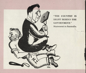 Cartoonist unknown :The country is right behind the Government - statement to Australia. Here and Now, May 1951 (front cover).