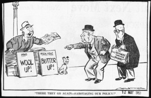 Minhinnick, Gordon, 1902-1992 :There they go again - sabotaging our policy! New Zealand Herald, 13 May 1959.