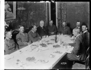 Prime Minister William Massey, at dinner with World War I Divisional Headquarters staff in Authie, France